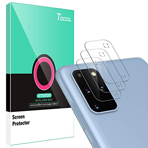 TOCOL [3Pack] Camera Lens Protector for Samsung Galaxy S20 Plus Tempered Glass, [Anti-Scratch] [9H Hardness] [Easy Installation] [High Definition]