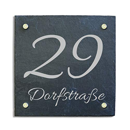 Haustürschild Hausnummer Hausschild Schiefer Abstandshalter Edelstahl 20x20 cm