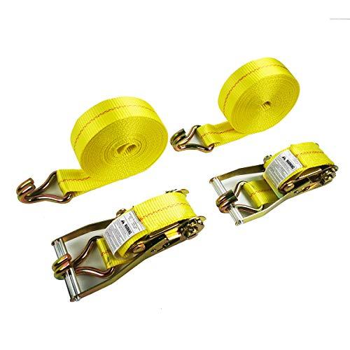2 Tie-Down Ratchet Straps J Hooks, 2 Heavy Duty 2' x 27' Tie-Down Ratcheting Cargo Truck Straps Wire Hook Ends, J-Hook Ratchet Strap TieDowns KJE (2' x 27'-2Pcs-1)