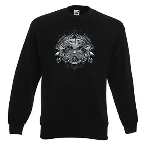 Geile-Fun-T-Shirts Biker Sweatshirts Herren Pullover - Freedom of The Road - Coole Männer Sweater schwarz Motorradfahrer-Geschenke mit hochwertigem Druck