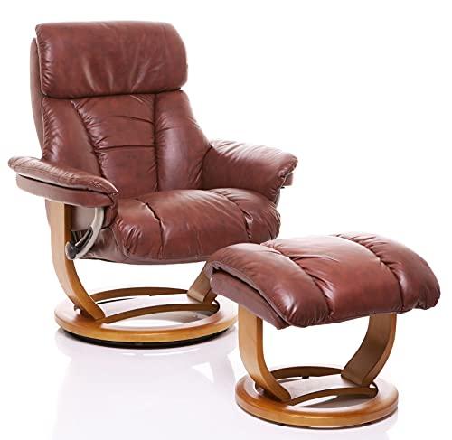 The Mars Chestnut Premium Genuine Leather Swivel Recliner Chair & Footstool
