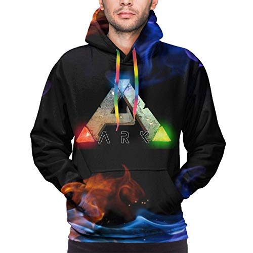 CHICLI Mens Ark-Survival-Evolved Logo Winter Hoodie Sweatershirt Long Sleeve Pullover Hoodies for Men Clothes