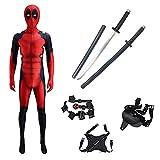 MODRYER Boys Deadpool Costume Cosplay Fancy Dress Suit Tuta Body con 2 PU Sword Zaino Supereroe Onesies,Upgraded-Custom Size
