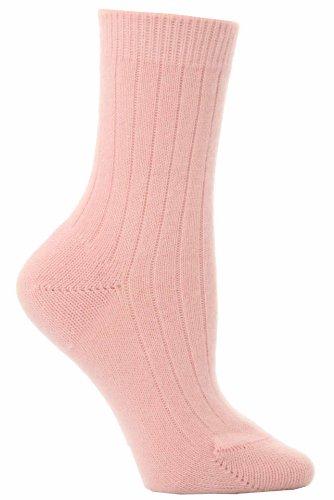 Pantherella Damen 1 Paar 85prozent Kaschmir gerippte Socken - Rosa 37-42