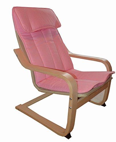 Unbekannt Ikea Kinder-Schwingstuhl POÄNG Kindersessel Freischwinger-Kinderstuhl aus Birkenholz mit waschbarem Bezug (Rosa)