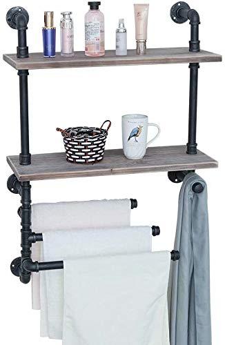 Estante de pared de madera para caja de almacenamiento de especias de cocina, estante de baño con toallero accesorio, estante flotante para decoración de habitaciones.