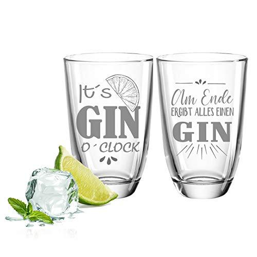FORYOU24 Juego de 2 vasos de ginebra – Gin o Clock & al final – Regalo para buenos amigos & pareja, set de regalo para ginebra + tónico de ginebra
