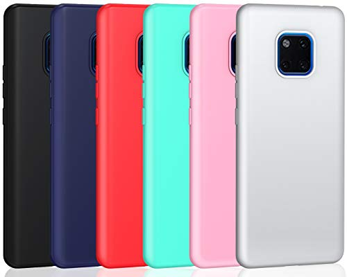 ivoler 6 x Funda para Huawei Mate 20 Pro, Ultra Fina Carcasa Silicona TPU de Alta Resistencia y Flexibilidad (Negro, Azul Oscuro, Rojo,Verde, Rosa, Blanco)