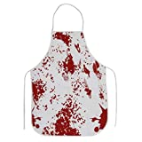 Halloween Bloody Apron, Printed Scary Blood Splattered Murder Halloween Theme Props, Unisex Kitchen Novelty Bib for BBQ Cooking Baking Gardening Party Decorations