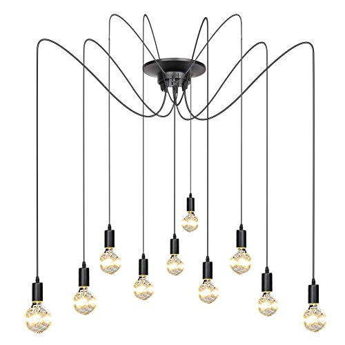 Vintage industriële plafondlampen, hangende hanglampen, 10 armen, E27, retro kroonluchter, hanger, verstelbaar, doe-het-zelf, industriële plafondlamp (2,0 m draad)