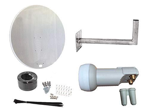 Satellitenschüssel 120 cm Schüssel mit Wandhalterung, Twin LNB & Installations-Set