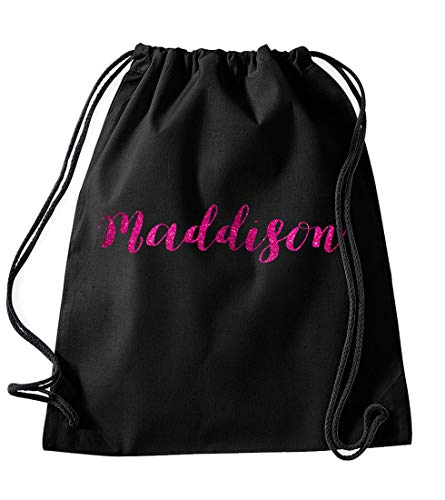 Daytripper Maddison Personalised Gym Bag School PE Kit In Black Colour Glitter Or Metallic Print Birthdays Gymnastics Swimming Christmas-Medium-Pink