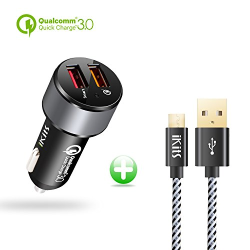 IKITS Quick Charge 3.0 Caricatore da Auto Dual 2 Porte USB, 30 W QC3.0 Presa accendisigari con Smart IC per Galaxy S6, Nexus 5 X 6P, iPhone/iPad e Altro (Nero/Grigio Siderale + 1,2 m Cavo Micro USB)