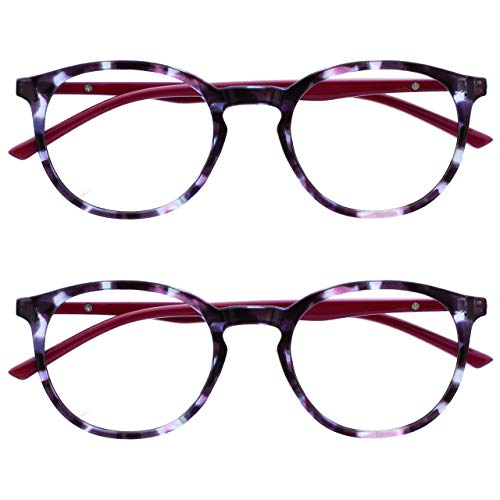 Opulize Met 2 Pack Blue Light Blocking Reading Glasses Computer Gaming Purple Cherry Red Mens Womens BB60-5 +3.00
