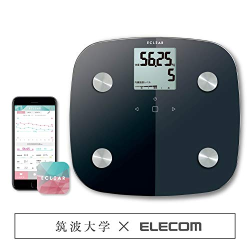 エレコム エクリア 体重・体組成計 50g単位測定 【体重 体脂肪率 内臓脂肪レベル BMI 骨格筋率 骨量 基礎代謝】 アプリ対応(データ手動入力式) ブラック HCS-FS01XBK