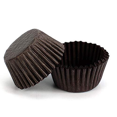 STARUBY 400 Stück Mini Muffinförmchen Backförmchen Papier Cupcake Wrapper Papierförmchen Fällen Liners für Dessert Hochzeit Geburtstag Party 3,5x2cm Braun