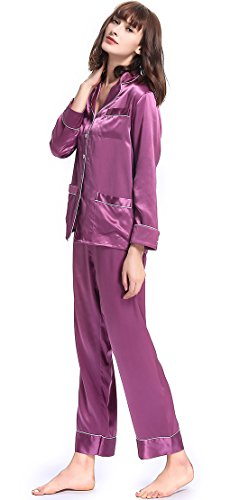 LilySilk Lavender Silk Pajamas for Women Long Set V Neck Notched Collar with White Trimmed Violet Size M