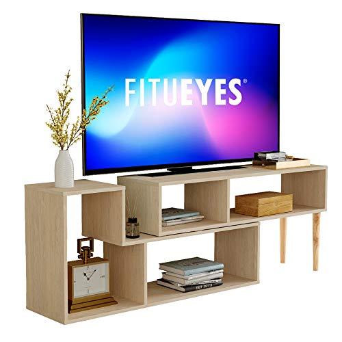 FITUEYES Vielseitige TV Schrank Fernsehtisch Modernes Unterhaltungszentrum für Flachbildfernseher, Kabelbox,Spielekonsolen, Wohnzimmer,TV Lowboard Holz