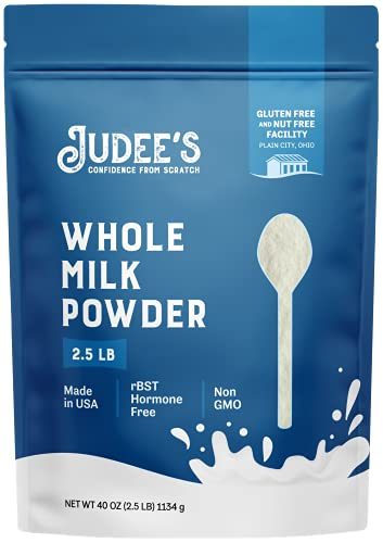 Judee's Whole Milk Powder - 2.5lb (40oz) Resealable Pouch | 100% Non-GMO, rBST Hormone-Free, Gluten-Free & Nut-Free | Pantry Staple, Baking Ready and Great for Travel | Made in USA