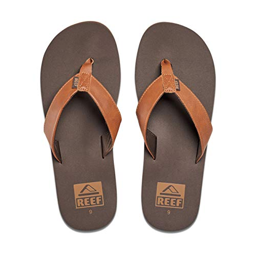Reef Men's Sandal Twinpin |Comfortable Men's Flip Flop with Vegan Leather Upper | Brown | Size 11
