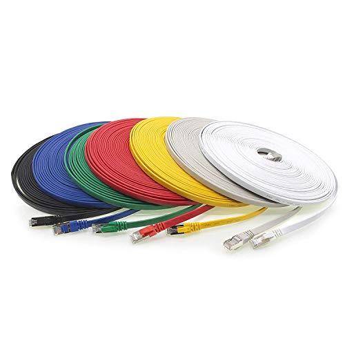 Netzwerkkabel CAT.7 Flach | Slim | Halogenfrei | RJ 45 Western-Stecker | vergoldete Kontaktflächen | CAT5 CAT6 kompatiben | Flachband | Flachkabel | Lankabel | für Fußböden,Laminat, Parkett, Randleisten, Sockelleiste, Teppiche bestens geignet'