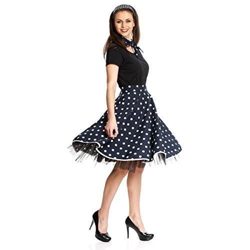 Kostümplanet® Rockn-Roll-Kostüm für Damen Teller-Rock dunkelblau mit weißen Punkten Knielang mit Halstuch im 50er Jahre Stil Rockabilly Damen Kostüm blau
