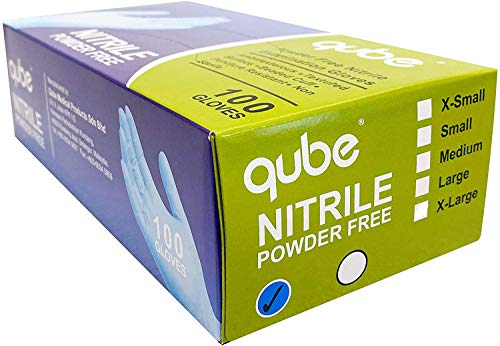 Qube 100% Nitrile Exam Gloves, Heavy Duty 4 Mil Disposable, Latex free, Powder Free (100 Count, Large)