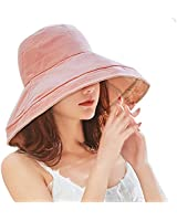 Women's UV Protection Linen Summer Outdoor Bucket Sun Hat Foldable Wide Brim Pink Beige with Strap 21-24inch