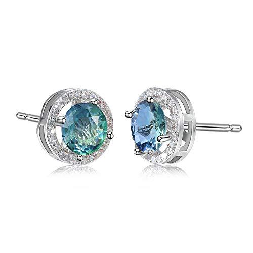 Aretes De Mujer Pendientes De Turmalina De Diamantes Redondos Verde Azul Agua De Oro Blanco Pendientes De Hombres Y Mujeres