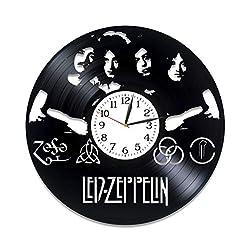 Kovides Rock Music Art Xmas Gift Idea for Him Led Zeppelin Room Art Rock Band Clock Lp Vinyl Retro Record Wall Clock Exclusive Led Zeppelin Gift Birthday Gift for Fan Led Zeppelin Clock Original Gift