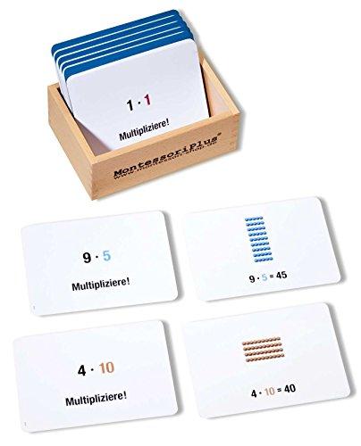 Arbeitskartei zum Montessori Perlenmaterial zur Multiplikation, 100 Aufgabenkarten zur Freiarbeit inkl. Selbstkontrolle
