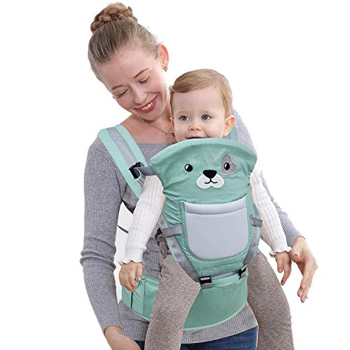 TODOGI Riñonera para bebé multifunción, 10 posiciones en 1, ergonómica, de algodón transpirable y ligero, ajustable, con suave asiento, soporte para cadera y cadera 0 – 36 meses