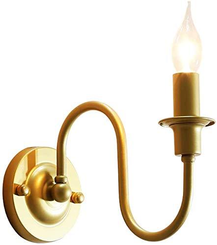 Luces de pared industriales, Color de la lámpara de pared clásico de latón vela ligera de la pared 1 dormitorio brazo de metal lámpara de cabecera, iluminación de interior for sala de estar Pasillo Lo