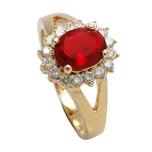 Women's 18kt Genuine Gold Filled, UK Guarantee: 3 µ Ring. Classic Design Set With A Ruby Red Simulated Diamond Centre Stone. Accented With Brilliant Rounds.