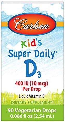 Carlson - Kid's Super Daily D3, Vitamin D Drops for Kids, 400 IU (10 mcg) per Drop, Heart & Immune Health, Vegetarian, Liquid Vitamin D Drops, Unflavored, 90 Drops