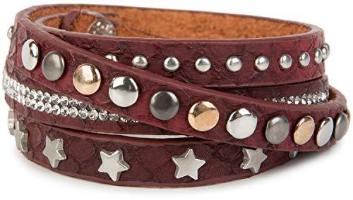 styleBREAKER Wickelarmband mit Strass, verschiedenen Nieten und Sterne, Armband, Damen 05040029, Farbe:Bordeaux-Rot