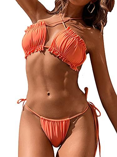 Women´s Sexy Swimwear 3 Pieces Bikini Suit Set Swimsuit Bra Panties Mini Skirt Cover Up Outfits (Orange, Small)