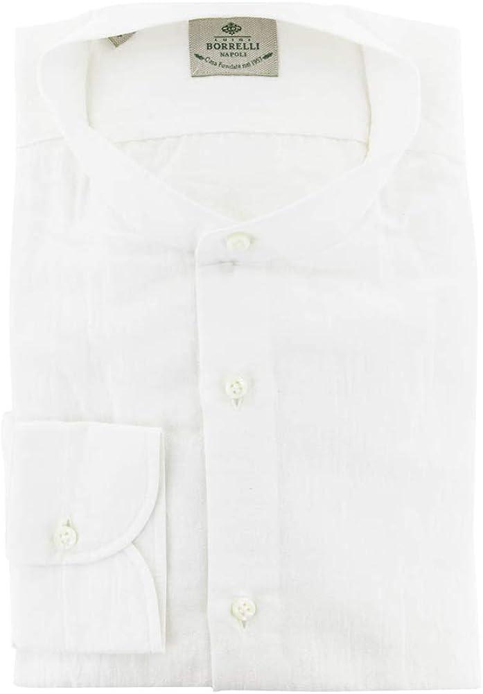 Luigi Borrelli Stripes 70% OFF Outlet Button Down Collar Popular brand in the world Cotton Mandarin Blend