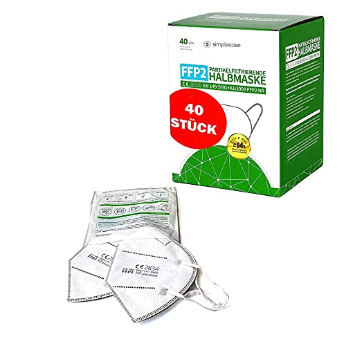 Simplecase FFP2 Maske, Atemschutzmaske, Partikelfiltermaske, EU CE Zertifiziert von Offiziell benannter Stelle CE2834 – 40 Stück, WEIß MS-2004-20212 - 6
