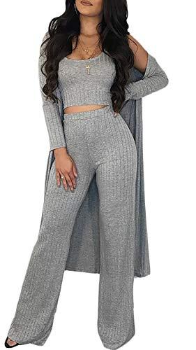 Symina Damen sexy 3 stück outfits für plain crop top weit zb lange hosen lange hülsen-strickjacke set l grau