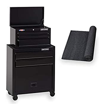 CRAFTSMAN Tool Chest Combo with Drawer Liner Roll 26-Inch Rolling, 5 Drawer Black  CMST82763BK