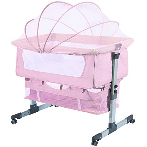 Ihoming Bedside Sleeper Bedside Crib, Baby Bassinet 3 in 1 Travel Baby Crib Baby Bed with Breathable Net, Adjustable Portable Bed for Infant/Baby