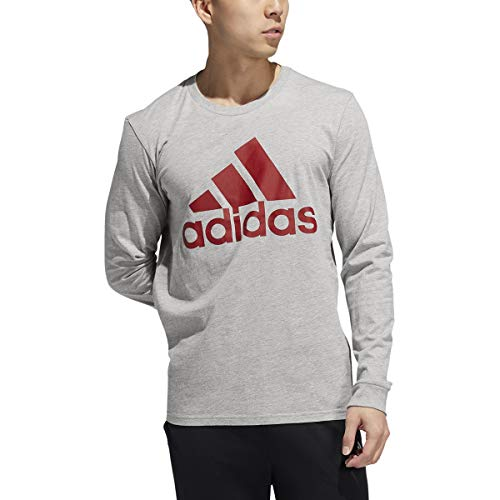 adidas Basic Badge of Sport Longsleeve Tee Shirt, Herren, Medium Grey Heather 2, XX-Large