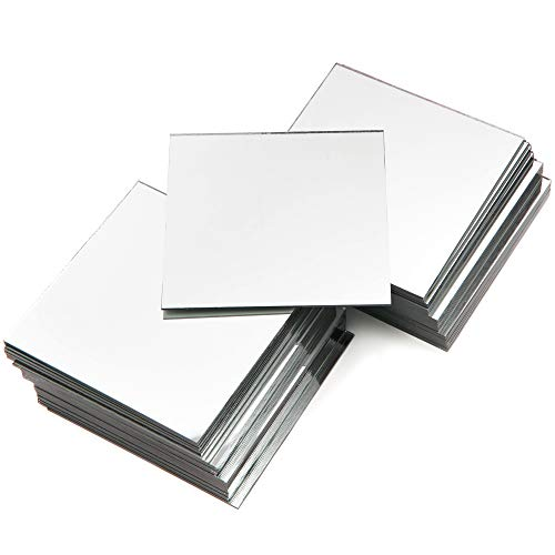 Square Mirror Tiles for DIY Crafts (4 Inch, 50-Pack)