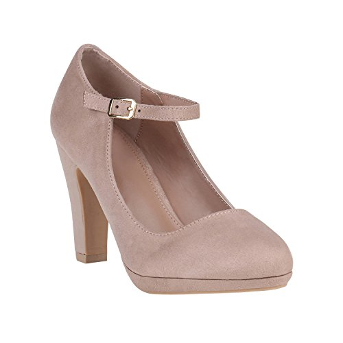 Damen Pumps Mary Janes Blockabsatz High Heels T-Strap 155272 Creme Avelar 37 Flandell
