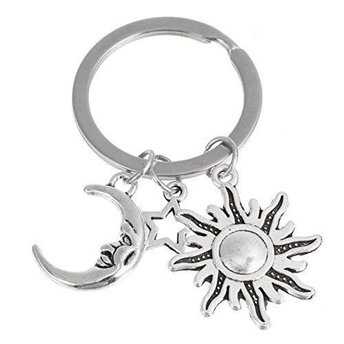 STOBOK Sun Moon Star Chaveiro de Aço Inoxidável Anel Chave Bolsa Da Bolsa Mochila Charme Chaveiro Anel Titular da Chave Do Carro de Presente Da Jóia