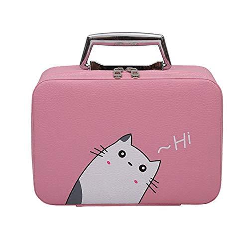 Makeup Case Cosmetics Beauty Casket Organizer Birthday Gift Portable Travel Makeup Bag Zipper Storage Case #Zer Pink23.5*9*16.5cm