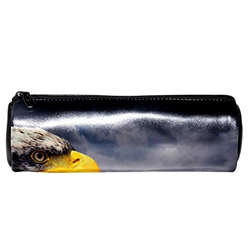 EZIOLY Hawk Animal - Estuche de piel para lápices, monedero, bolsa de maquillaje para estudiantes, papelería, escuela, trabajo, oficina, almacenamiento