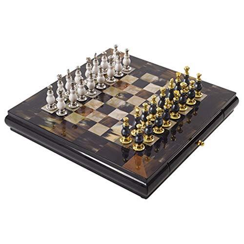 NgMik Conjunto de ajedrez Luz de Lujo Estilo Italiano Sala de Estar Mesa de ajedrez de Escritorio decoración del hogar Adornos Modelo de ajedrez Juego de Mesa de Madera