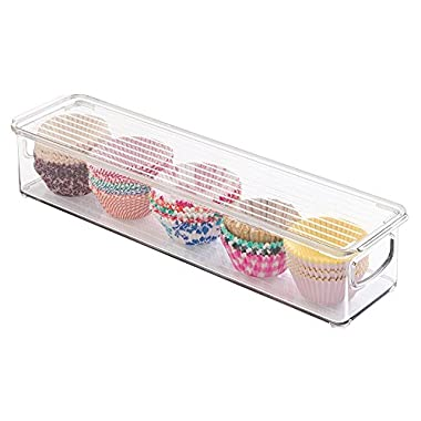 mDesign Refrigerator, Freezer, Pantry Cabinet Organizer Bin with Lid for Kitchen - 16  x 4  x 3 , Clear